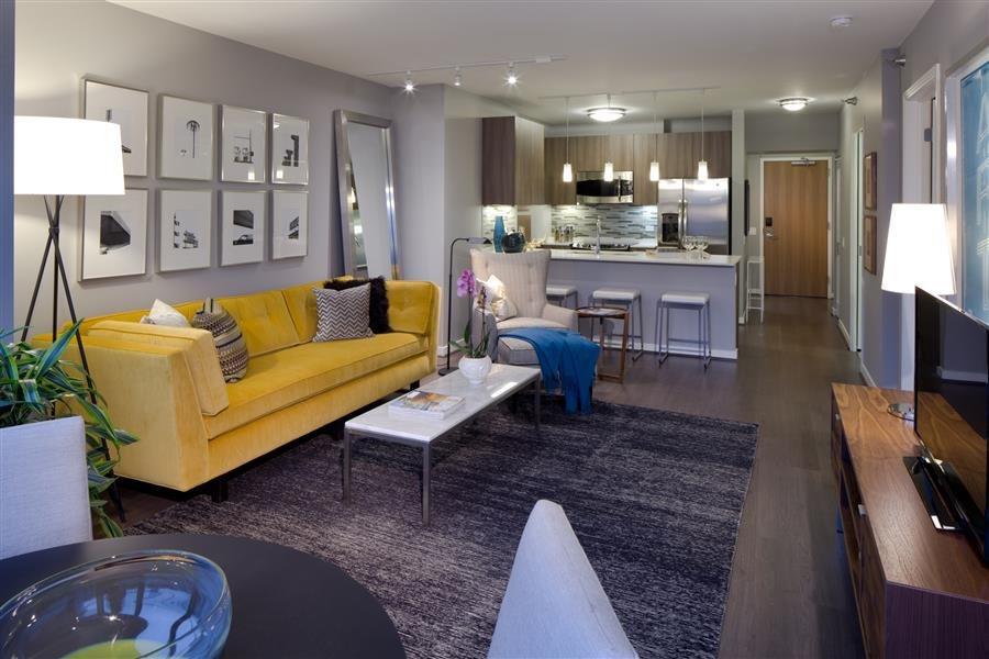 Rich grey Eligna oak flooring create an urban chic aesthetic at Hubbard Place.