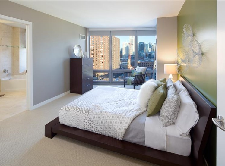 Berber carpet in bedrooms at a gorgeous apartment in River North Chicago.
