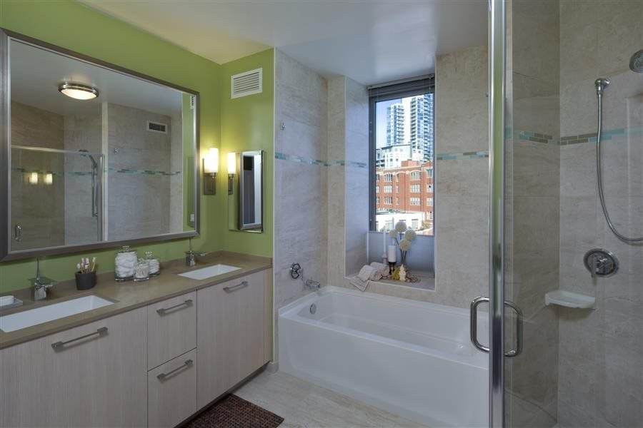 The spa-like bathroom at the most elegant River North apartment in Chicago.