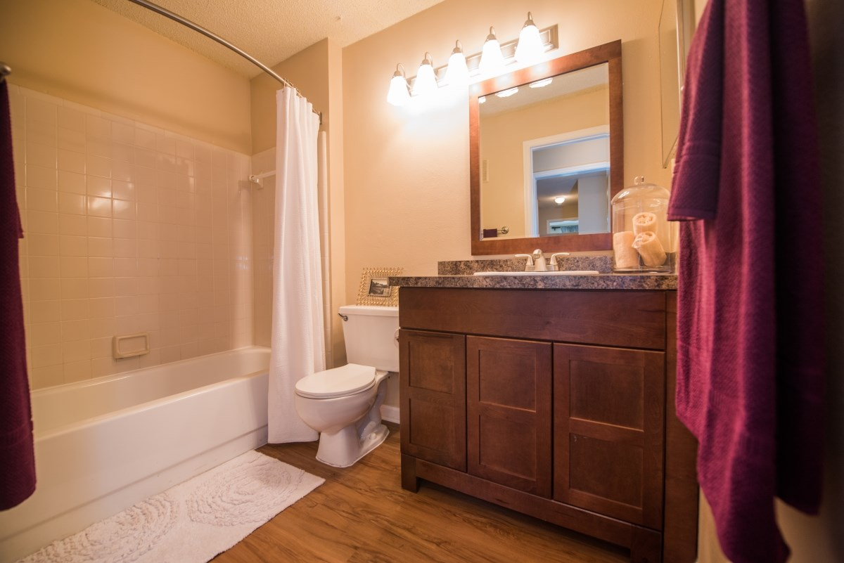 Upgraded bathrooms available in select apartments at Grande Oasis.