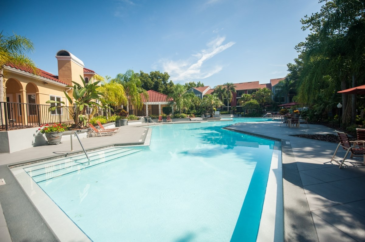 Three resort-style pools are available to Grande Oasis residents in Tampa, FL.