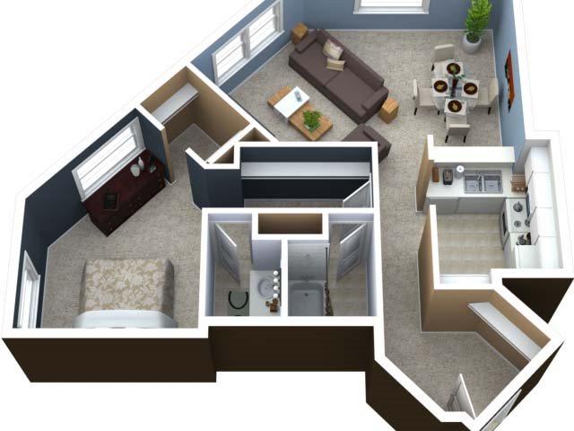One Bedroom B Floor Plan 3