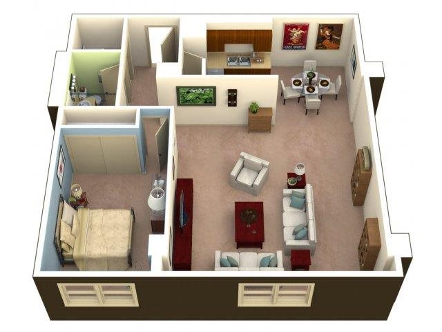 One Bedroom Floor Plan 2