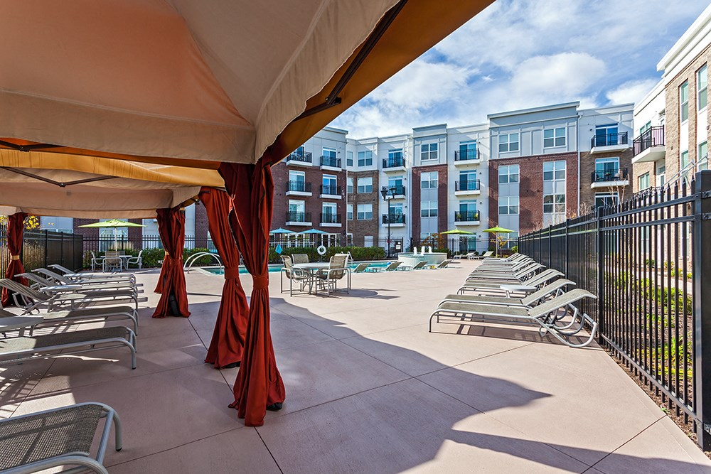 Sun Deck with Cabanas at Penn Circle Apartments in Carmel, IN