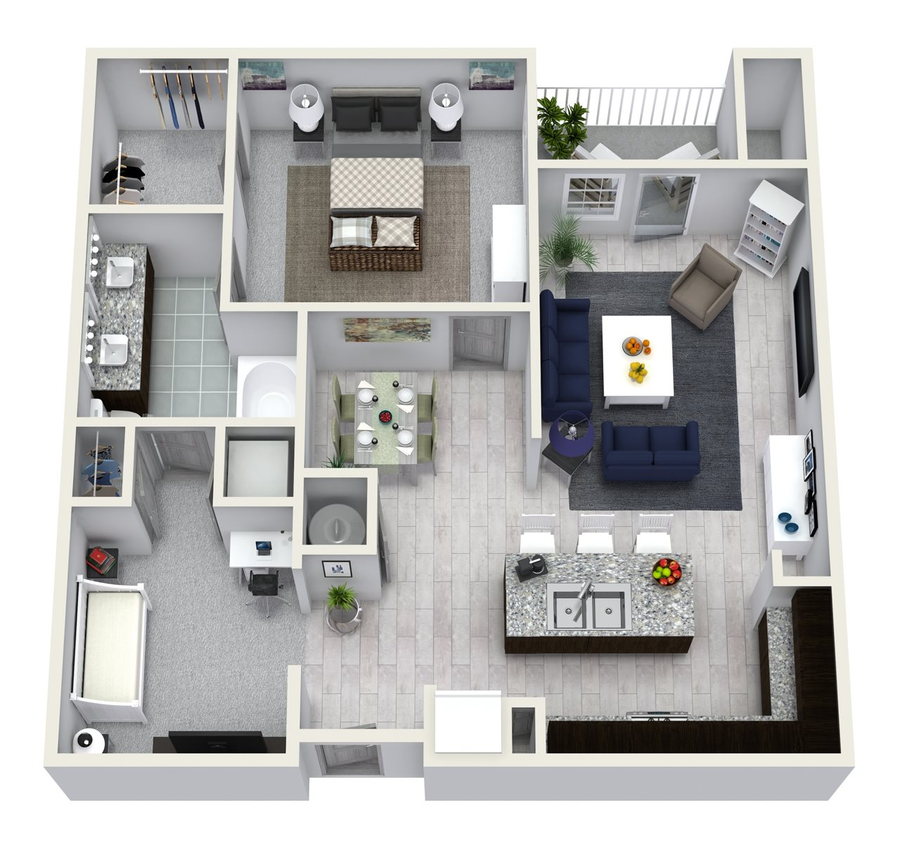 1 Bedroom 1 Bath 954 sqft A5 Floor Plan 5