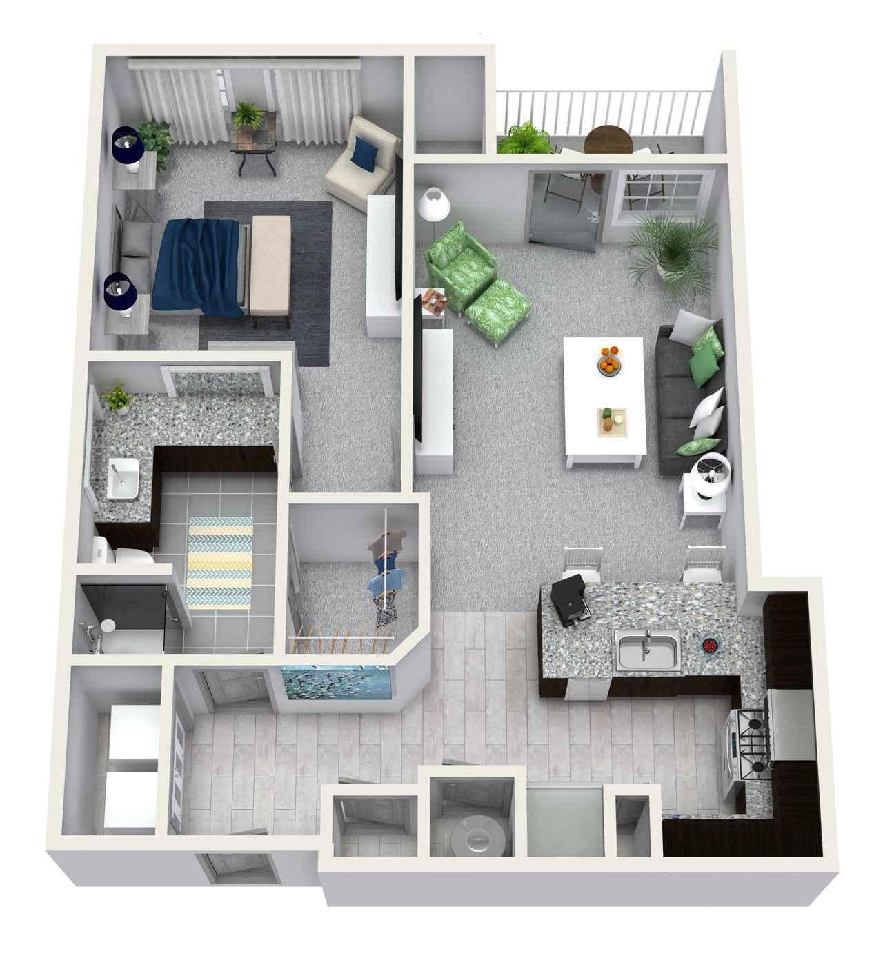 1 Bedroom 1 Bath 744 sqft A6 Floor Plan 6
