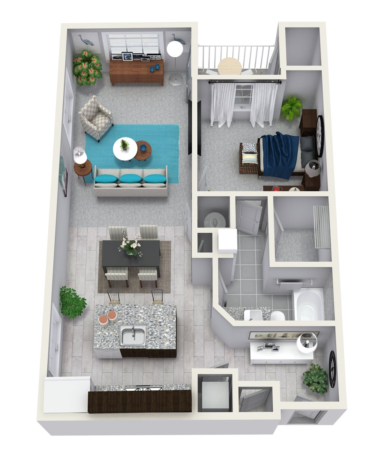 1 Bedroom 1 Bath 838 sqft A1 Floor Plan 1