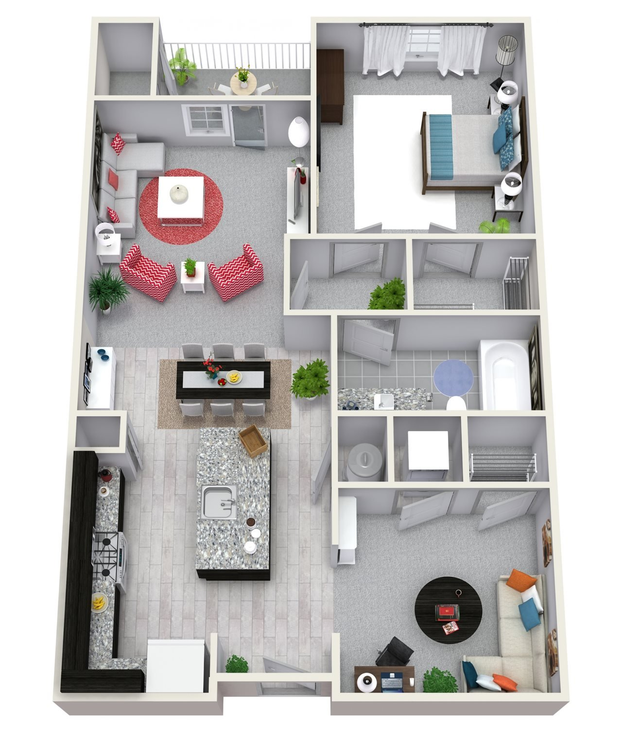 1 Bedroom 1 Bath 821 sqft A3 Floor Plan 3