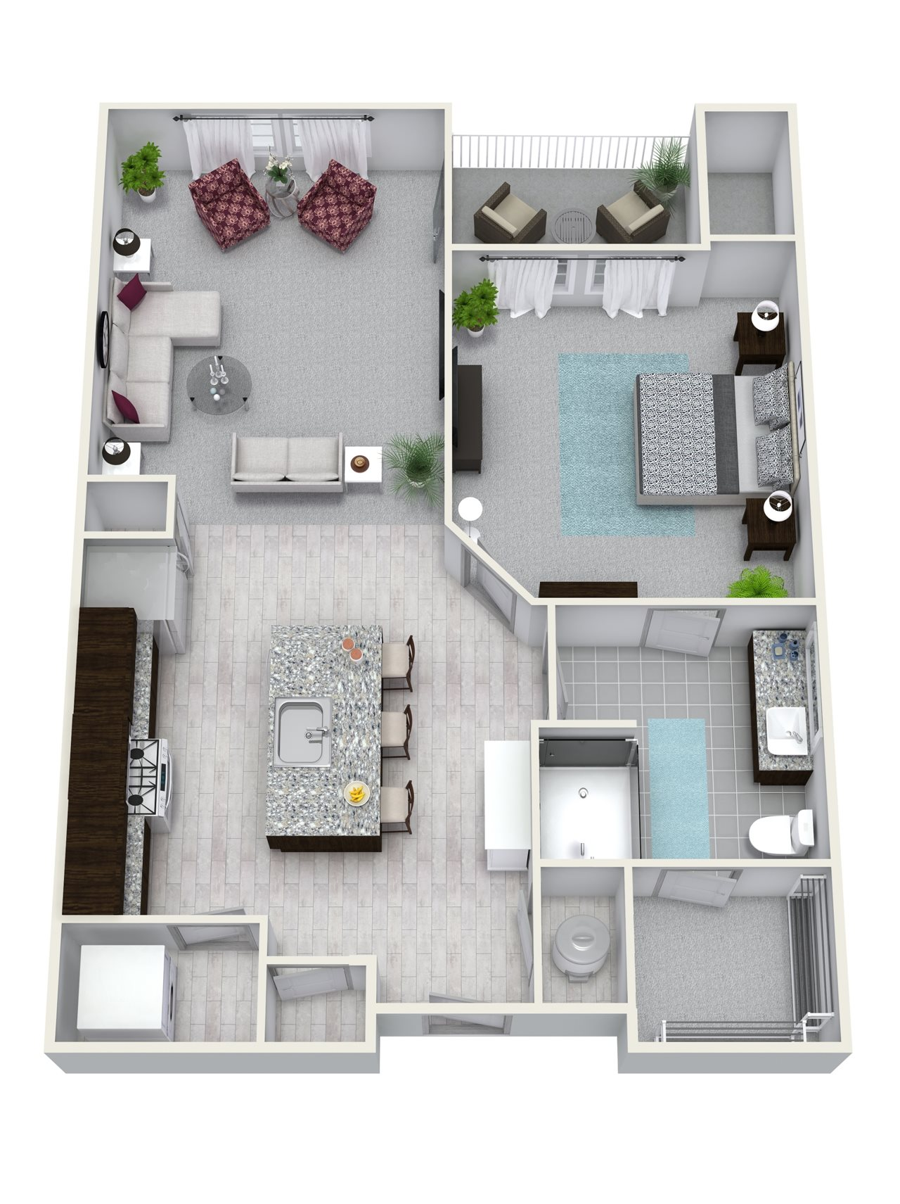 1 Bedroom 1 Bath 699 sqft A4 Floor Plan 4