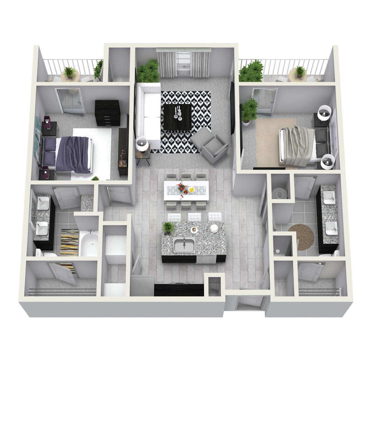 2 Bedroom 2 Bath 1058 sqft B1 Floor Plan 8