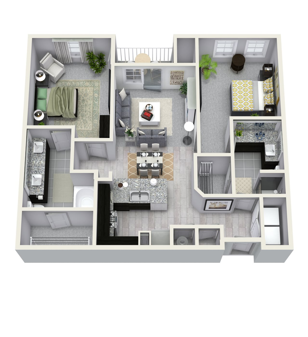 2 Bedroom 2 Bath 1107 sqft B2 Floor Plan 9