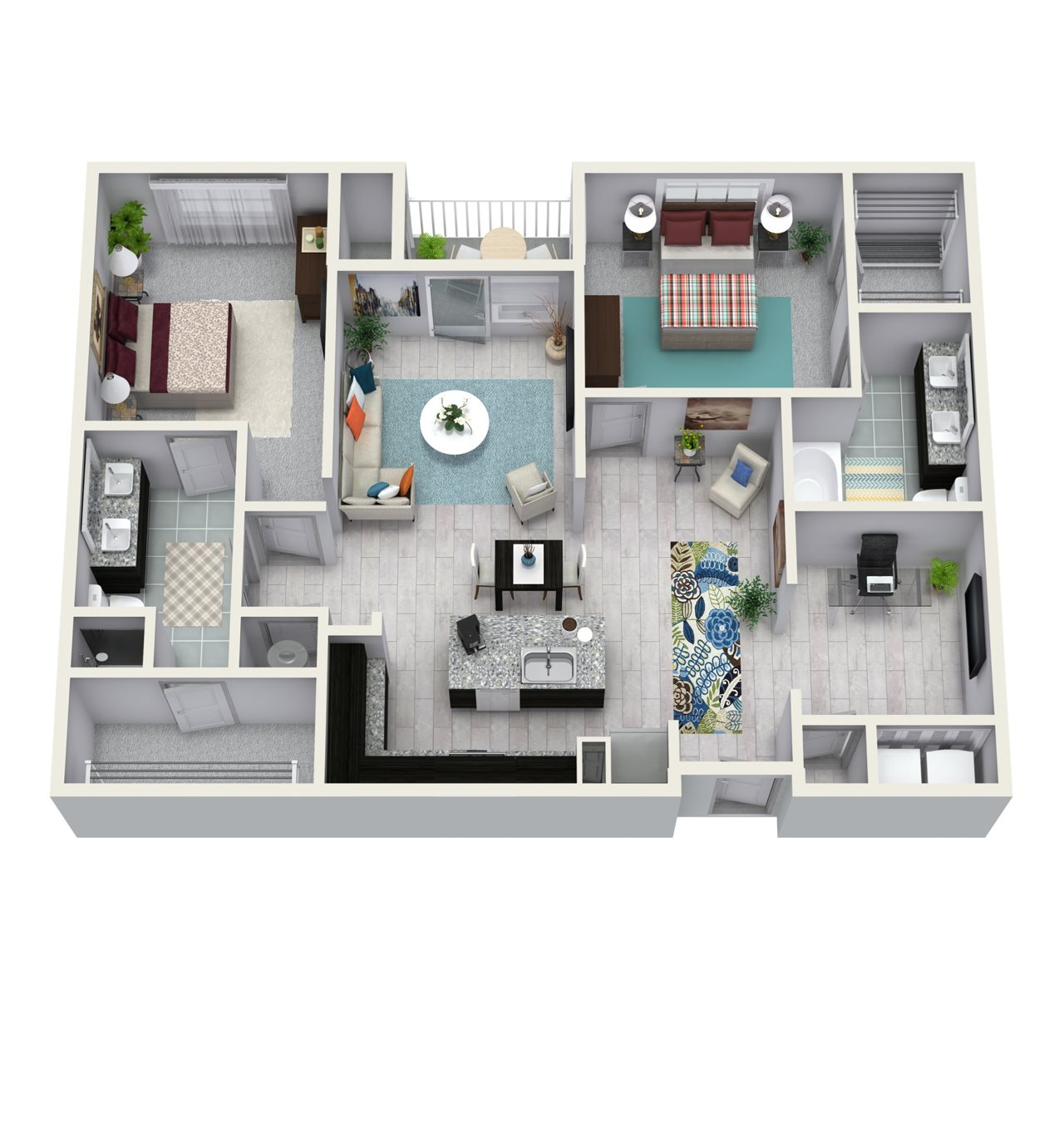 2 Bedroom 2 Bath 1339 sqft B4 Floor Plan 11