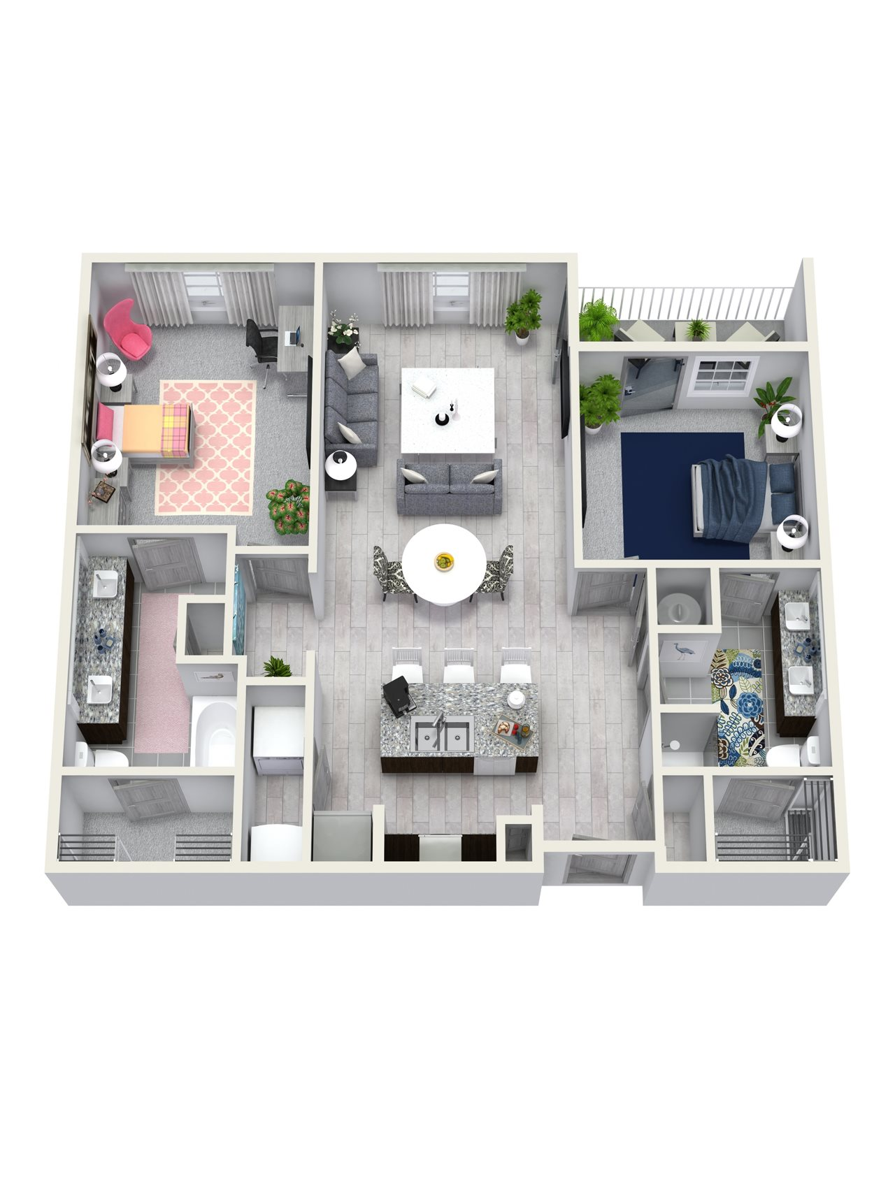 2 Bedroom 2 Bath 1117 sqft B5 Floor Plan 12