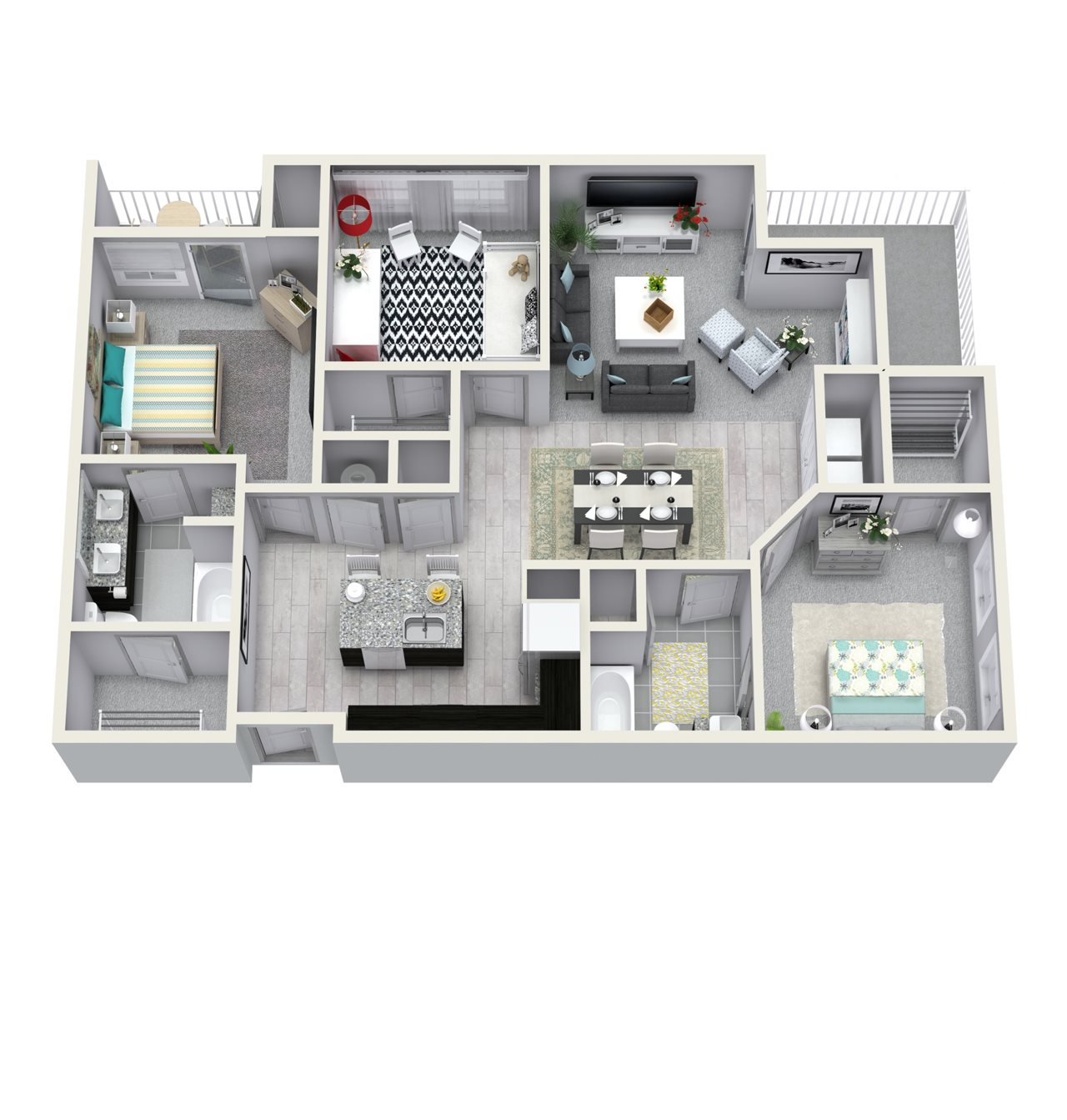 3 Bedroom 2 Bath 1370 sqft C1 Floor Plan 13