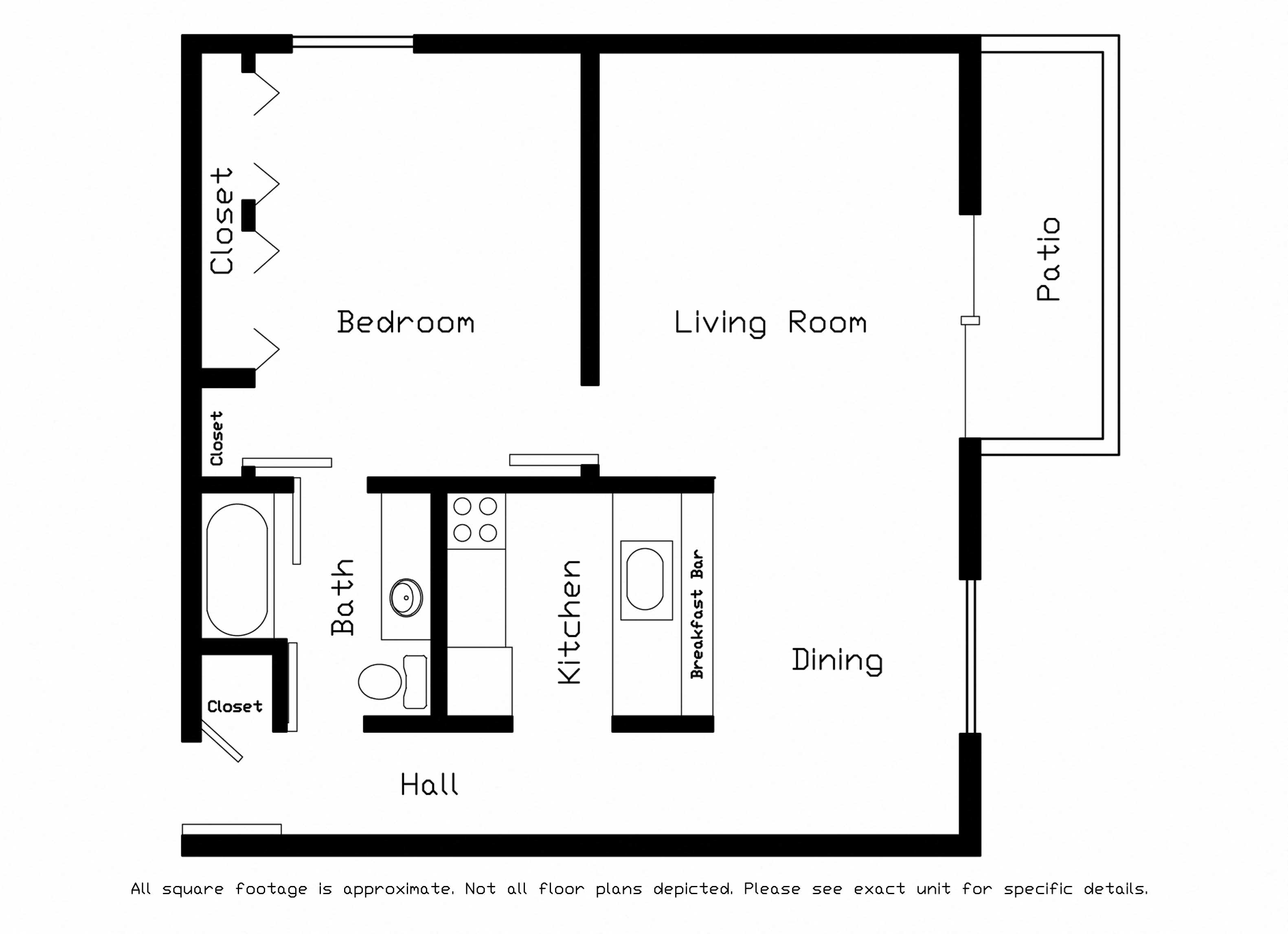 One Bedroom Floor Plan 3