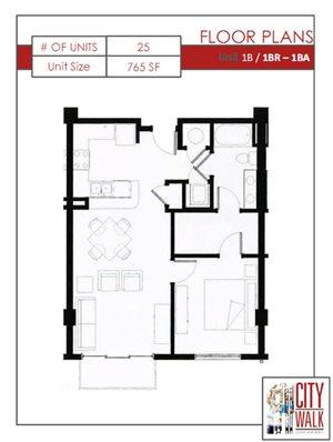 1B - One Bedroom One Bathroom