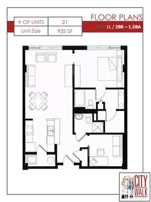 1L - Two Bedroom 1.5 Bathroom