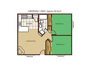 2 Bed 1 Bath Floorplan at Mountain View Villa Apartments