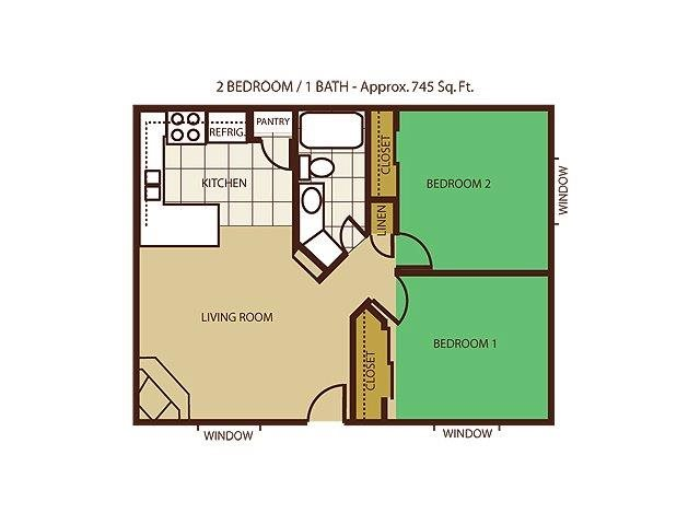 2 Bed 1 Bath Floorplan at Mountain View Villa Apartments