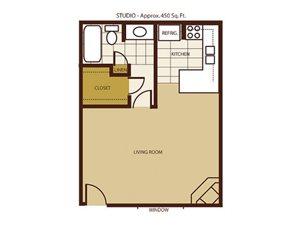 Studio Floorplan at Mountain View Villa Apartments