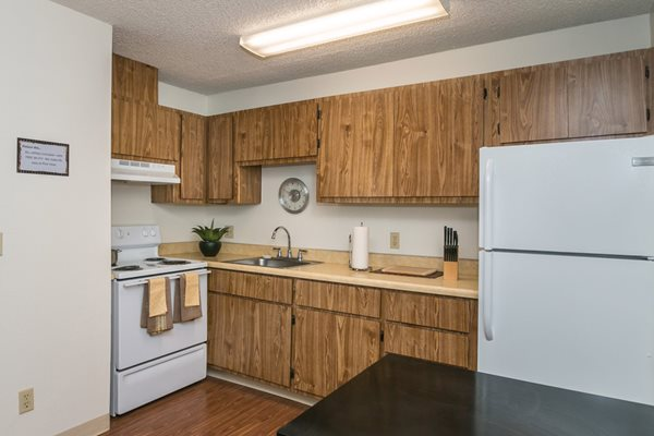 Spacious Studio Kitchen at Pine View Village Apartments in Flagstaff, AZ