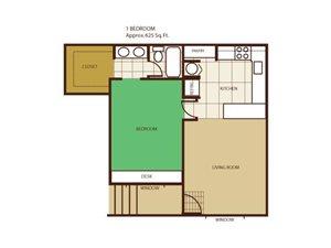 1 Bed 1 Bath Floorplan at Highland Village Apartments
