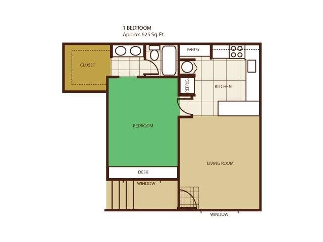 1 Bed 1 Bath Floorplan at Highland Village Apartments