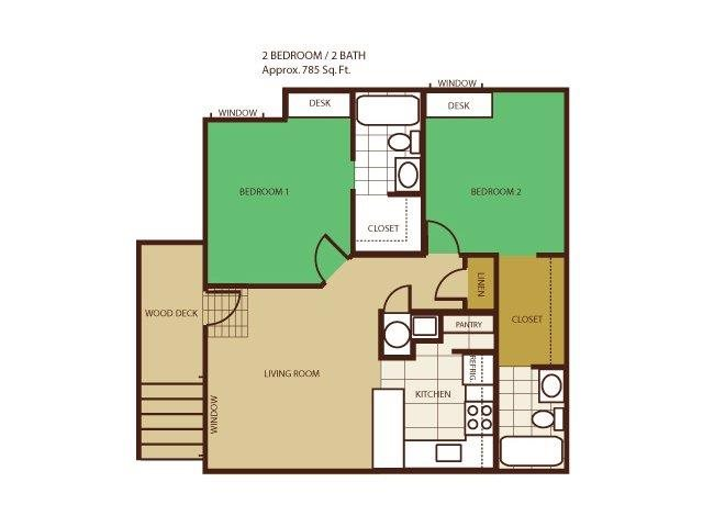 2 Bed 2 Bath - Rent by Room Floorplan at Highland Village Apartments