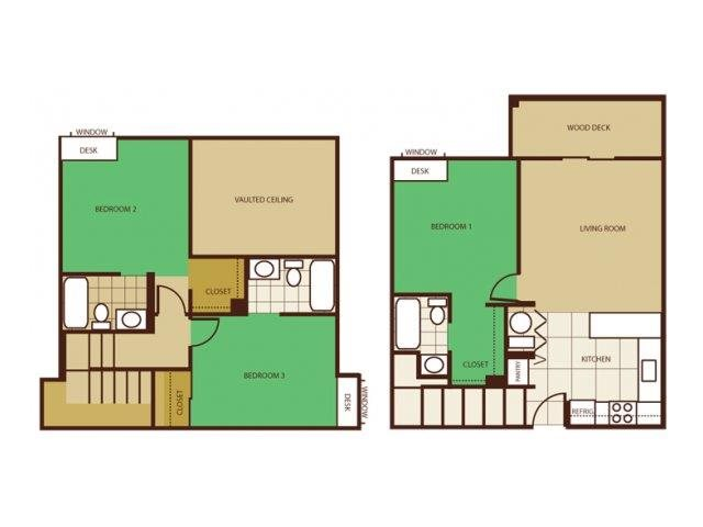 3 Bed 3 Bath - Rent by Room Floorplan at Highland Village Apartments