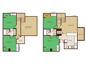 4 Bed 2 Bath - Rent by Room Floorplan at Highland Village Apartments