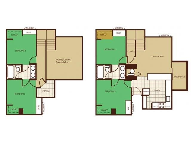 4 Bed 2 Bath - Rent by Room Floorplan at Highland Village Apartments