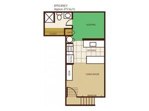 Studio Floorplan at Highland Village Apartments