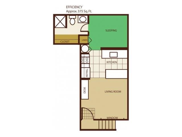 Studio Floorplan at Highland Village Apartments
