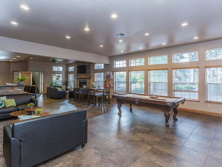 Highland Village Apartments Clubhouse with Pool Table