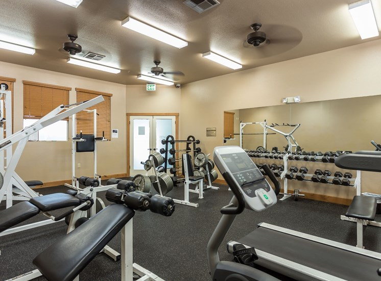 Highland Village Apartments Fitness Center with Free Weights