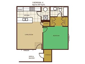 1 Bed 1 Bath Floorplan at Country Club Vista Apartments
