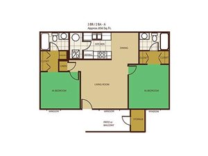 2 Bed 2 Bath Floorplan at Country Club Vista Apartments