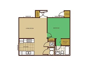 1 Bed 1 Bath Floorplan at Country Club Terrace Apartments