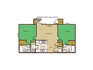 2 Bed 2 Bath Floorplan at Country Club Terrace Apartments