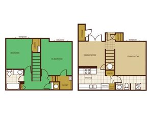 2 Bed Townhouse Floorplan at Country Club Terrace Apartments