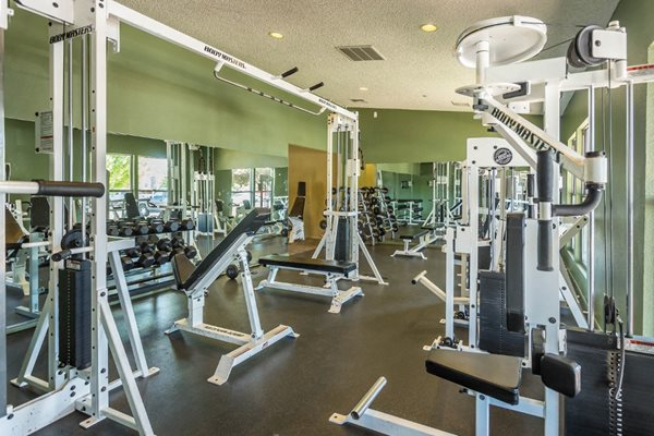 Fitness Center with Free Weights at Country Club Terrace Apartments, Flagstaff, AZ