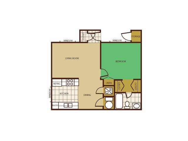 1 Bed 1 Bath Floorplan at Country Club Meadows Apartments