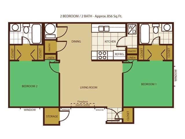2 Bed 2 Bath Floorplan at Country Club Meadows Apartments