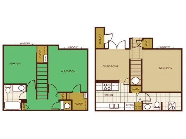 2 Bed Townhouse Floorplan at Country Club Meadows Apartments