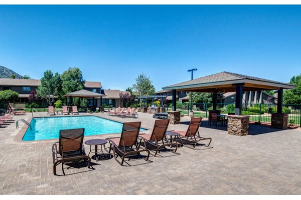 Swimming Pool with BBQ Grill and Gazebos at Country Club Meadows Apartments, Flagstaff, AZ