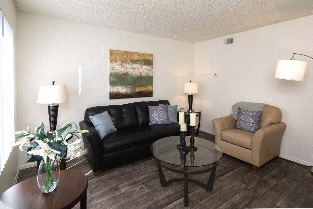 Living Room with Modern Lighting at Country Club Meadows Apartments, 5303 East Cortland Blvd, Flagstaff, AZ 86004