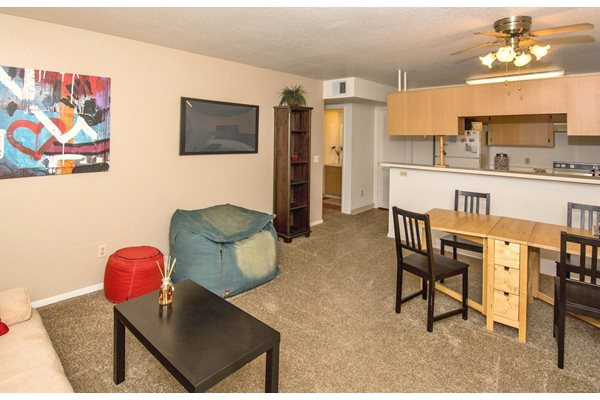 Spacious Living Area at Woodlands Village Apartments in Flagstaff, AZ