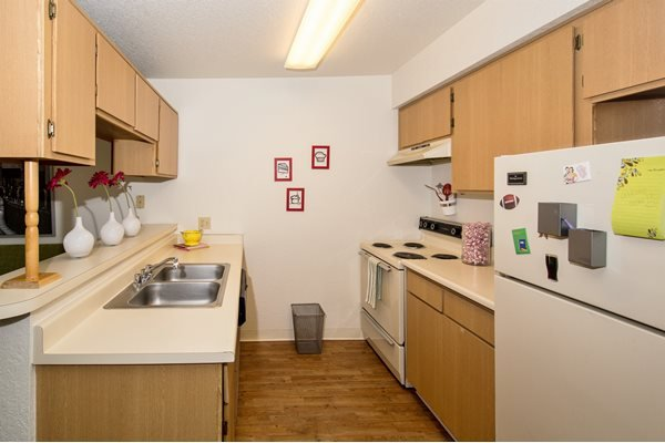 Full Kitchens in Studio Apartments at Woodlands Village Apartments