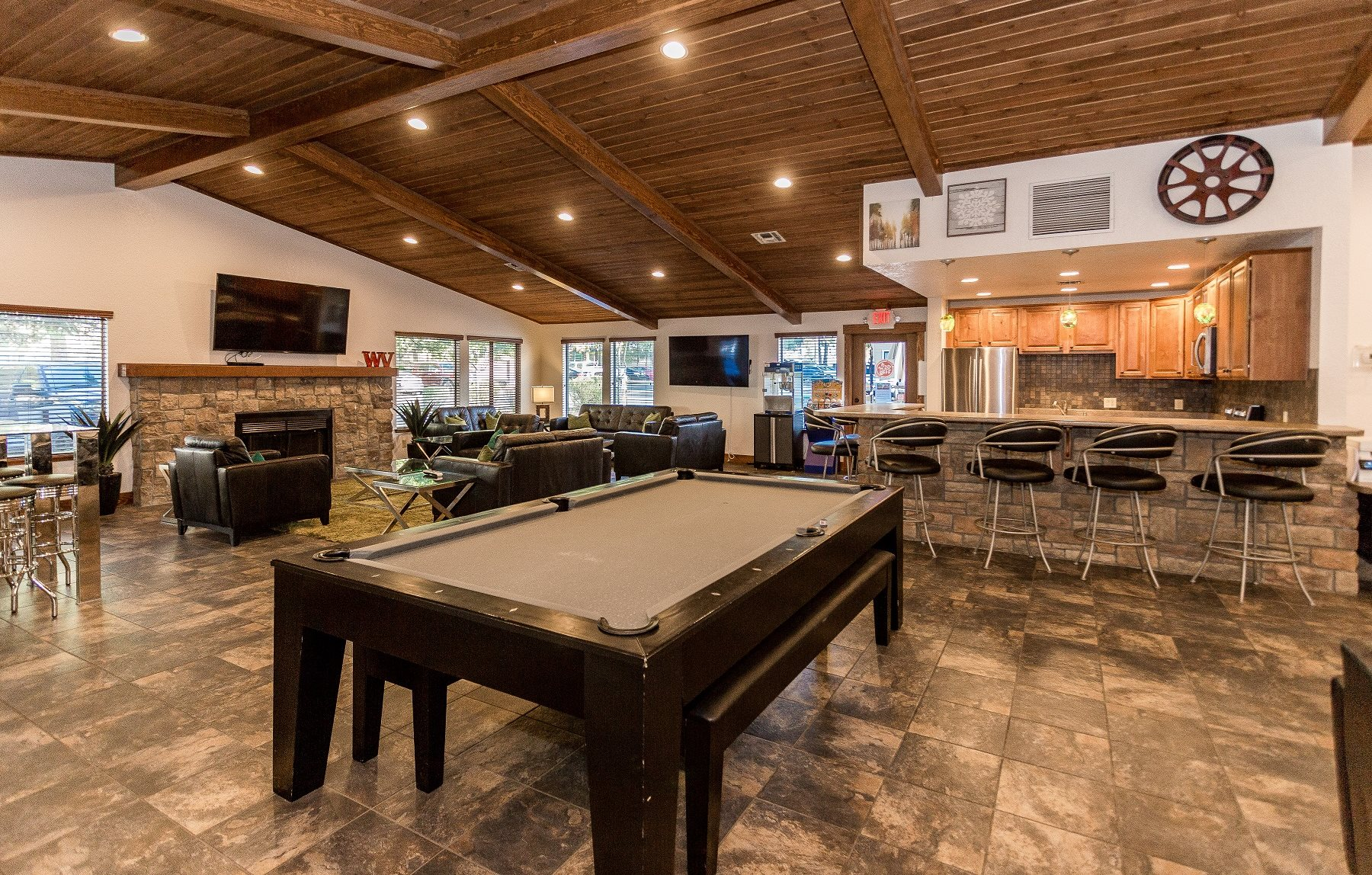 Woodlands Village Clubhouse with Pool Table and Fireplace