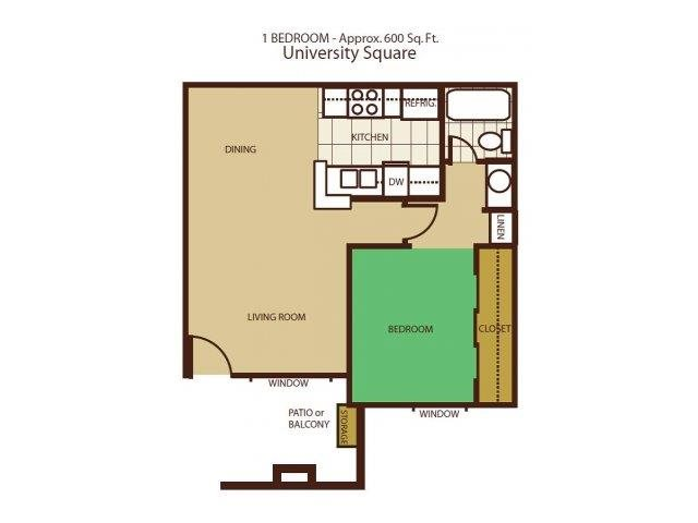1 Bed 1 Bath Floorplan at University Square Apartments